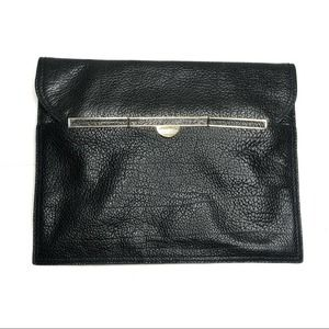 Uterqüe Black Leather Envelope Clutch Bag